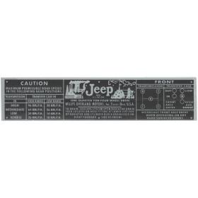 Plaqueta de alumínio Jeep / Rural e F-75 3 marchas Willys Overland Cor Preta