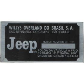 Placa de Identificação do Número de Série do Motor para Jeep Willys / Rura e F-75