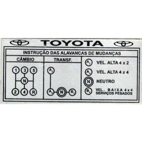 Placa Toyota em aluminio de identificação das marchas ( Toyota 5 Marchas )(Plaqueta)