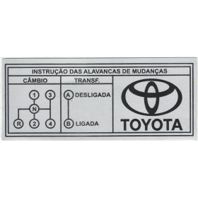 Plaqueta / Placa Toyota em alumínio de identificação das marchas (Toyota 4 Marchas)