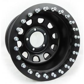 Roda com Bead Lock Daytona Black em Aço (Estilo Mangels) 16x8, 5 furos de 139.7 para Jeep Willys, Rural, F1000, Niva e Suzuki Samurai  1942 à 1983