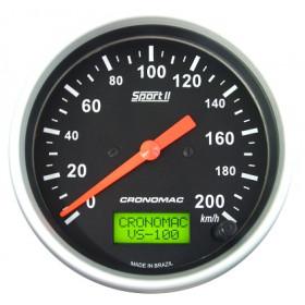 Velocímetro Eletrônico 100mm 200km/h Cronomac - Linha Sport II
