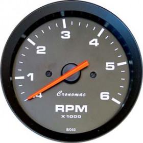 Relógio Contagiros Cronomac 52mm / 6RPM - Linha Street - Fundo Preto / Ponteiro Laranja - Universal