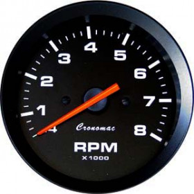 Relógio Contagiros Cronomac 85mm / 8RPM - Linha Street - Fundo Preto / Ponteiro Laranja - Universal