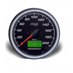 Velocímetro 100mm Eletrônico 200kmh Display Digital BLACK Series - Cronomac