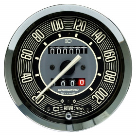 Velocímetro Mecânico Cronomac Linha Volks com Duplo Hodômetro - 100mm / 200kmh / Bege