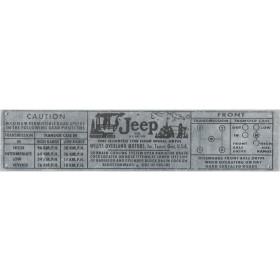 Placa / Plaqueta para Jeep Willys, Rural e F-75 - 3 marchas - Cor Alumínio