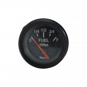 Relógio Medidor de Combustível Modelo Willys Fundo Preto / Ponteiro Laranja / Aro preto para Jeep Willys